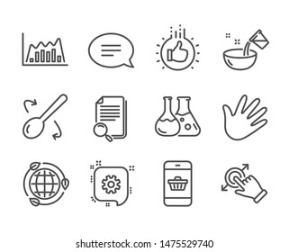 Set of Business icons, such as Like hand, Touchscreen gesture, Chat, Eco energy, Chemistry lab, Cogwheel, Smartphone buying, Hand, Infographic graph, Cooking spoon, Search file line icons. Vector