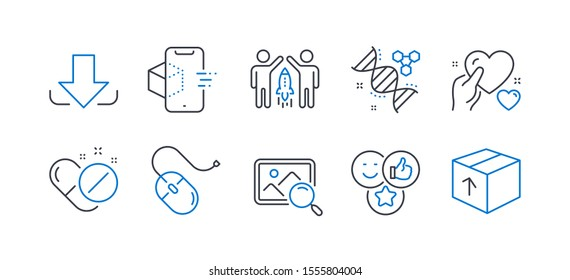 Set of Business icons, such as Like, Medical pills, Partnership, Computer mouse, Chemistry dna, Search photo, Download, Augmented reality, Hold heart, Package line icons. Line like icon. Vector