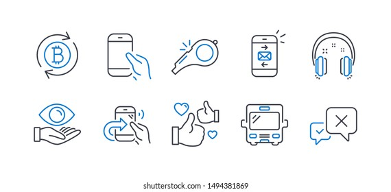 Set of Business icons, such as Mail, Hold smartphone, Like, Share call, Health eye, Bus, Headphones, Refresh bitcoin, Whistle, Reject line icons. Smartphone communication, Phone call. Vector