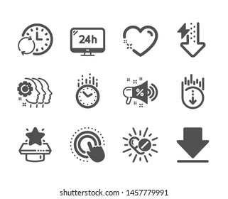Set of Business icons, such as Medical drugs, Winner podium, Update time, Energy drops, Time, 24h service, Scroll down, Heart, Downloading, Sale megaphone, Employees teamwork, Click hand. Vector