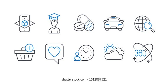 Set of Business icons, such as Medical drugs, Student, Taxi, Augmented reality, Web search, Time management, Heart, Add purchase, Sunny weather, Full rotation line icons. Vector