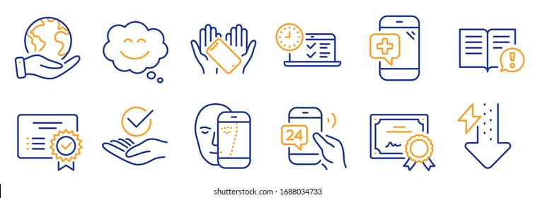 Set of Business icons, such as Medical phone, Certificate. Certificate, save planet. Smile chat, Facts, Energy drops. Approved, Smartphone holding, 24h service. Vector