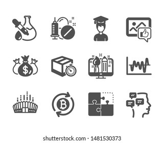 Set of Business icons, such as Messages, Like photo, Chemistry experiment, Refresh bitcoin, Check investment, Medical drugs, Puzzle, Arena stadium, Student, Delivery timer, Stock analysis. Vector