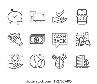 Set of Business icons, such as Money transfer, Dermatologically tested, Payment, Search map, Computer, Approved, Dirty water, Clapping hands, Coffee beans, Star, Employee hand, Buildings. Vector