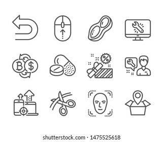 Set of Business icons, such as Package location, Repairman, Swipe up, Seo devices, Sale, Bitcoin exchange, Monitor repair, Medical drugs, Peanut, Face detection, Scissors, Undo line icons. Vector