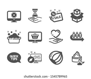 Set of Business icons, such as Packing boxes, Time hourglass, Hand washing, Night cream, Queue, Quickstart guide, Monitor settings, Hold heart, Hazelnut, Web shop, Sale, Web system. Vector