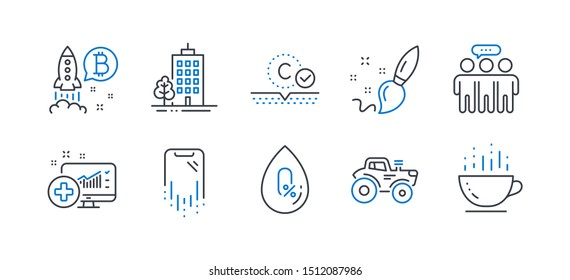 Set of Business icons, such as Paint brush, Bitcoin project, Skyscraper buildings, Employees group, Collagen skin, Tractor, Medical analytics, No alcohol, Smartphone recovery, Coffee cup. Vector