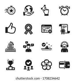 Set of Business icons, such as Payment methods, Support. Certificate, approved group, save planet. Like, Alarm clock, Natural linen. Touchscreen gesture, Web settings, Conversation messages. Vector