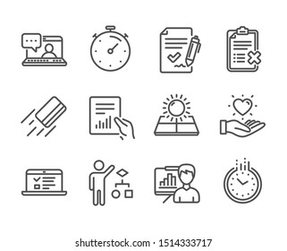 Set of Business icons, such as Reject checklist, Timer, Document, Presentation board, Algorithm, Time, Credit card, Approved agreement, Sun energy, Web lectures, Friends chat, Hold heart. Vector