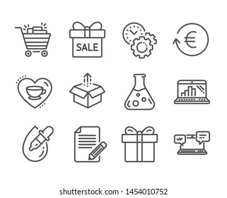 Set of Business icons, such as Send box, Exchange currency, Eye drops, Graph laptop, Love coffee, Gift box, Shopping cart, Chemistry lab, Sale offer, Time management, Article line icons. Vector
