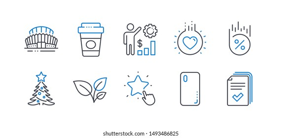 Set of Business icons, such as Smartphone cover, Loan percent, Leaves, Employees wealth, Love, Ranking star, Takeaway coffee, Christmas tree, Sports stadium, Handout line icons. Vector
