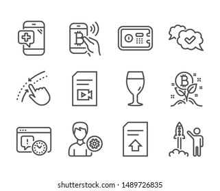 Set of Business icons, such as Support, Launch project, Video file, Bitcoin project, Bitcoin pay, Upload file, Safe box, Swipe up, Approved, Medical phone, Beer glass line icons. Support icon. Vector