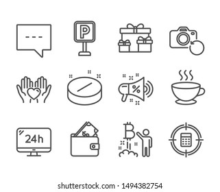 Set of Business icons, such as Surprise boxes, Coffee cup, Sale megaphone, 24h service, Wallet, Medical tablet, Blog, Parking, Hold heart, Calculator target, Bitcoin project line icons. Vector