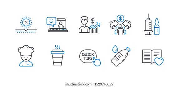 Set of Business icons, such as Takeaway, Smile, Medical vaccination, Water bottle, Cooking chef, No sun, Sharing economy, Quick tips, Business growth, Love book line icons. Line takeaway icon. Vector