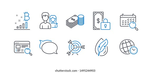 Set of Business icons, such as Target, Hypoallergenic tested, Private payment, Teamwork, Website search, Talk bubble, Savings, Bitcoin graph, Search calendar, Time zone line icons. Vector