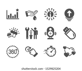 Set of Business icons, such as Timer, Gift, 360 degrees, Rotation gesture, Heart, Swipe up, Usb stick, Efficacy, Repairman, Speaker, Info, Wash hands classic icons. Timer icon. Vector