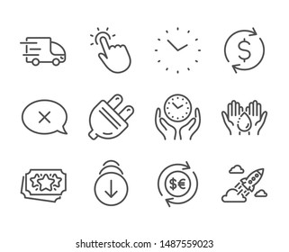 Set of Business icons, such as Touchpoint, Startup rocket, Money currency, Reject, Wash hands, Scroll down, Truck delivery, Time, Safe time, Loyalty points, Dollar exchange, Electric plug. Vector