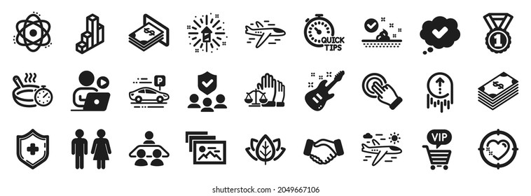 Set of Business icons, such as Vip shopping, Swipe up, Airplane icons. Atom, Fireworks explosion, Skin care signs. 3d chart, Quick tips, Airplane travel. Photo album, Organic tested. Vector