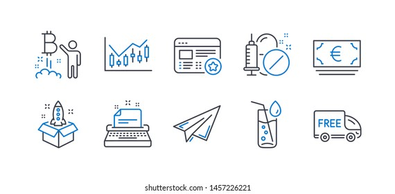 Set of Business icons, such as Water glass, Startup, Paper plane, Favorite, Bitcoin project, Typewriter, Euro currency, Medical drugs, Financial diagram, Free delivery line icons. Vector