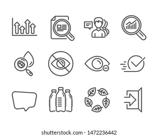 Set of Business icons, such as Water bottles, Water analysis, People, Organic tested, Data analysis, Upper arrows, Checkbox, Exit, Myopia, Check article, Not looking, Chat message. Vector