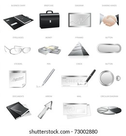 Set: business icons (symbols). Isolated silver design elements. This collection useful for blogs, web ads and websites or business projects. Vector illustration on white background