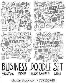 Set of Business illustration Hand drawn doodle Sketch line vector scribble