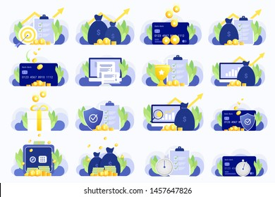 Set of business illustrations. Business planing, Financial growth and goals, Earn point, Cash back, Electronic invoice, Reward program, insurance, investment and others. Trendy flat style. Vector.