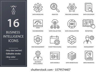 Set of business Intelligence icons, such as machine learning, data modeling, visualization, risk management and more. Editable stroke.