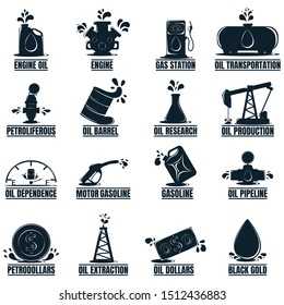 Set of Business label with Oil Drop. Oil Development and Extraction. World Petrol Production. 16 Oil Biz Symbol, Icon and Badge. Simple Vector illustration.