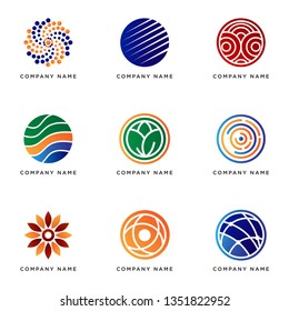 set of business logo template with geometric circle shape, vector design eps 10