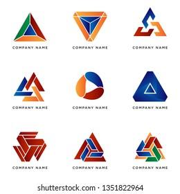 set of business logo template with geometric traingle shape, vector design eps 10