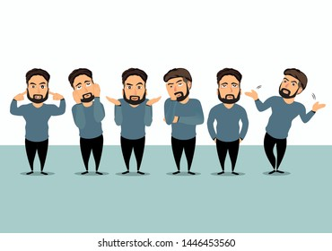 set of business man acts like a unsatisfied, unhappy or curious someone. business man is denying or don't know something. vector illustration.