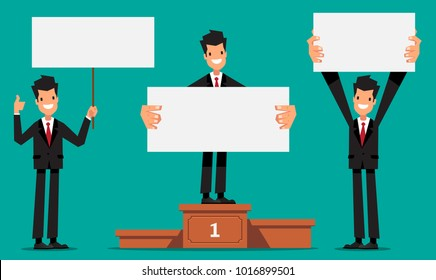 Set of business man with blank white banner in various action. Vector character design.