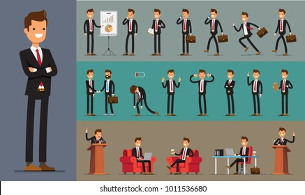 Set of Business Man character design. Vector illustration.