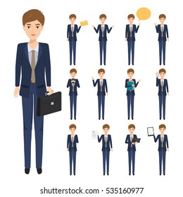 set of business man character in job. occupation people with work. vector illustration.