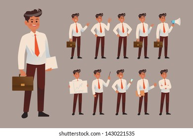 Set of business man in different poses. Vector cartoon character in flat style. Man wears a shirt and trousers, Man works at the tables, tells a speech, shows slides at the presentation