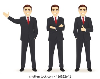 Set of business man in different poses isolated. Thumbing up, showing and with hands crossed