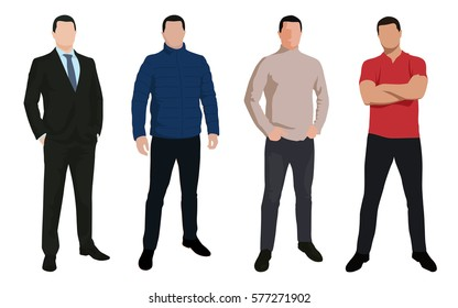 Set of business man, isolated vector characters in various clothing, flat design illustrations