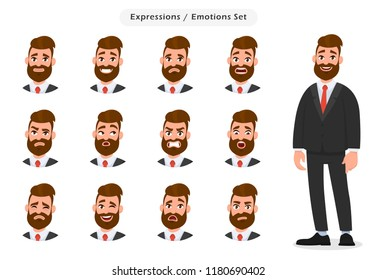 Set of business man's facial different expressions. Business man emoji character with different emotions. Emotions and body language concept illustration in vector cartoon style.