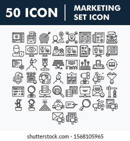 Set of Business Marketing Strategy Payment Social media Creative Related Vector flat Icons.