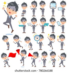 A set of business men with digital equipment such as smartphones. There are actions that express emotions. It's vector art so it's easy to edit.