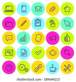 set of business and office icons. Bright colors. Line art.