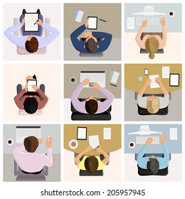 Set of business office worker people on job at the table with laptop computer coffee icons vector illustration