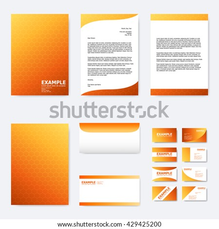 Set business paper template abstract hexagon stock vector royalty set of business paper template with abstract hexagon pattern on summer orange background vector flashek Images