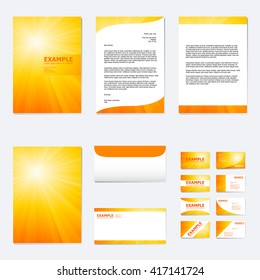 Set business paper template abstract hexagon stock vector royalty set of business paper template with light ray on summer orange background vector flashek Images