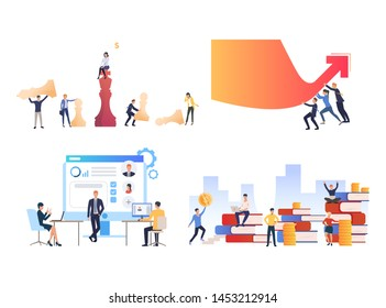 Set of business people achieving career success. Flat cartoon characters working on computer, playing chess, reading books. Can be used for presentation, promo, placard