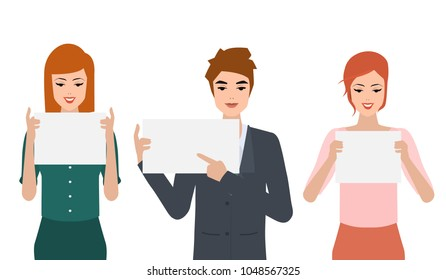 Set of business people with blank white banner pose. Illustration vector flat design.