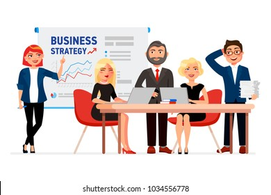 Set of business people cartoon characters. Colleagues at the meeting, business woman pointing at the white board with the business strategy charts. Collaborators concept vector flat illustration.