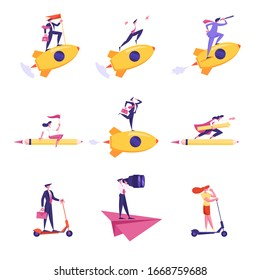 Set of Business People Characters Flying on Rocket, Paper Airplane and Huge Pencil Look in Spyglass and Binoculars, Hold Flag, Riding Scooter Isolated on White. Cartoon Vector Illustration, Clip Art