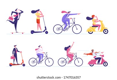 Set of Business People Characters Riding Transport Scooter, Skateboard and Bikes Following Leader in Red Cloak Driving Moped. Office Managers Race Challenge, Leadership. Cartoon Vector Illustration